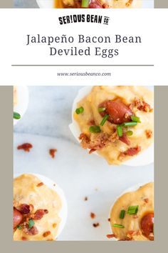 Skip the basic eggs this year. These savory Jalapeño Bacon Bean Deviled Eggs will be the hit of any meal or celebration—especially when everyone sees the bacon on top! Baked Beans With Bacon, Stuffed Jalapenos With Bacon, Stuffed Peppers, Pickled Jalapeno Peppers, Pickling Jalapenos, Mustard Pickles, Fresh Chives, Bacon Bits, Deviled Eggs
