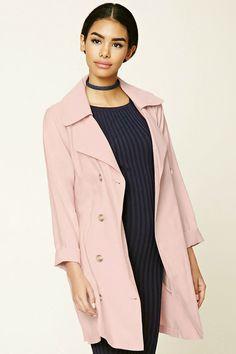 A lightweight trench coat featuring a removable belt, a double-breasted front, notched lapels, long sleeves, and slanted front welt pockets. New Outfits, Chic Outfits, Winter Outfits, Forever21, Birthday Outfit, Mantel Trenchcoat, Anniversary Outfit, Lightweight Trench Coat, All Black Outfit
