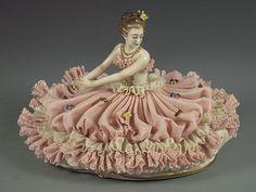 Antique Ackermann Fritze German Porcelain Dresden Lace Lady Figurine Gorgeous | eBay
