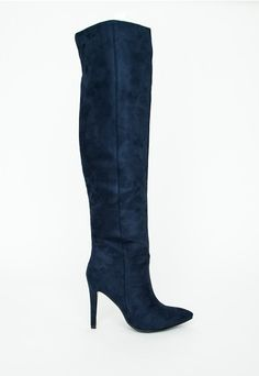 Kate Faux Suede Knee High Heeled Boots Navy - Shoes - Missguided, $76 but sold out :( on the prowl for a similar pair!!