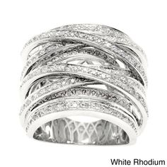 Beverly Hills Charm 14k Gold Overlay 1ct TDW Diamond Crossover Ring...of course id like a much less costly version...sigh