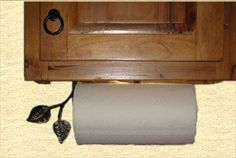 hand forged paper towel rack | Under Cabinet Mount Wrought Iron Leaf Paper Towel Holder, Hand Forged ...