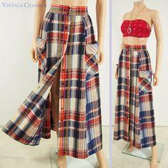 Vtg 70s PAWTUCKET Red White Blue Plaid Hippie Festival Big Pockets Maxi Skirt M #PawtucketSportswear #ButtonFront