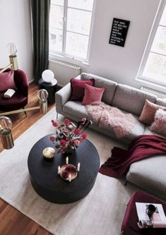 Related posts: Deeply Living Room Furniture Classic 9 Great Ideas of Living Room Apartment Decor Ideas to Copy on Yourself Bohemian Interior Design, [. Living Room Sofa, Home Living Room, Living Room Designs, Red Living Room Decor, Burgundy Living Room, Red Home Decor, Cozy Living, Grey And Red Living Room, Maroon Living Rooms