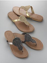 Open Circle-Embellished Sandal