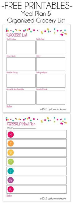 Free Printable Grocery List And Meal Planner  Free Printable