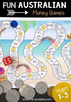 These fun Australian money activities include a variety of hands-on games, activities and puzzles. They are great for kids in year one, year two and year three. They also align with the Australian curriculum. Money Math Games, Money Games For Kids, Money Activities, Math For Kids, Hands On Activities, Fun Math, Learning Activities, Kids Learning, Teaching Kids