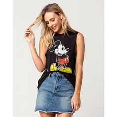 Disney Mickey Womens Muscle Tank ($22) ❤ liked on Polyvore featuring tops, graphic muscle tank, disney tanks, sleeveless tank tops, crew neck tank top and print tank top