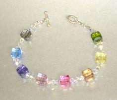 Swarovski 8mm Multi-Coloured Cube Crystal Bracelet #307