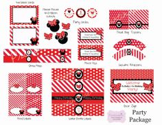 Printable Minnie Mouse Party Package Red black and by Printinspire, $25.00