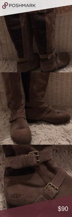 UGG SUEDE TALL BOOTS!! Beautiful fleece lined brown suede UGG tall boots featuring dark brown leather in the back, inside zippers and stretch material to accommodate the right fit for you and buckle detailing in gold hardware.  Very good condition. UGG Shoes Winter & Rain Boots