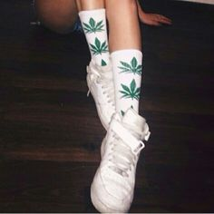 weed socks Marijuana new (: super cute. this is for ONE! either green or purple. or both for 18. price is firm !!! no holds. Other