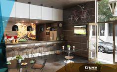 Lindo ambiente de cafeteria com destaque para os painéis em madeirado Wood da Criare!