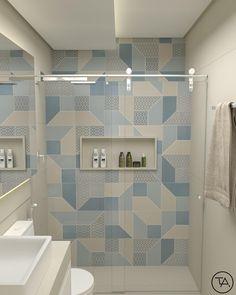 """Banheiro lindo com destaque para o revestimento """"look blue"""" da Eliane que deu vida ao espaço 😍 Auto Bathroom Tile Designs, Bathroom Design Luxury, Bathroom Design Small, Modern Bathroom, Serene Bathroom, Bathroom Ideas, Mini Bad, Toilet Design, Room Paint Colors"""