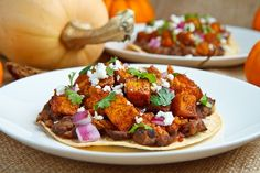 "Very good - a little dry, could use something ""wet"", maybe salsa or guac... (Butternut Squash and Chorizo Tostadas)"