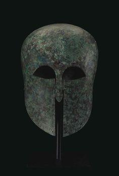 A greek bronze Corinthian helmet. Archaic period, circa first half of the 6th century BCE.