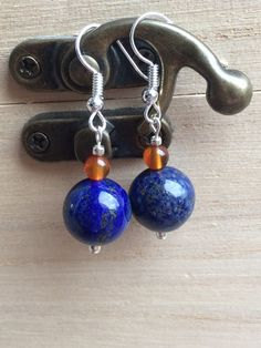 Lapis Lazuli & Agate Earrings Royal Blue And Orange by MadeByMissM