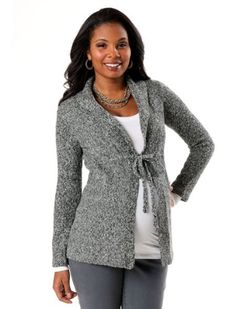 Motherhood Maternity: Long Sleeve Shawl Collar Maternity Cardigan