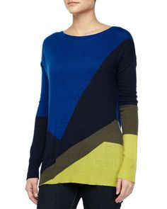 Long-Sleeve Colorblock Sweater, Sapphire/Navy/Green by Halston Heritage at Neiman Marcus.