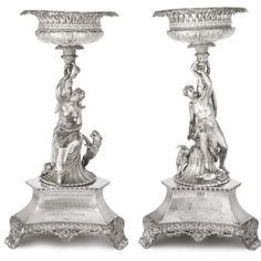 Two Matching George IV Silver Figural Large Dessert Stands, Robert Garrard II, London, 1825-26