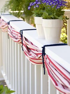 Add bunting to your porch to welcome guests this 4th of July. Buy several yards of patriotic-pattern fabric (determine length based on where the bunting will hang). Starting at one end, gather the fabric about every 24 inches and secure the gathers using red, white, or blue yarn. #redwhiteandblue #4thofjuly #4thofjulyparty #partyideas #4thofjulydecorations #bhg Fourth Of July Decor, 4th Of July Celebration, 4th Of July Decorations, 4th Of July Party, July 4th, Patriotic Bunting, Diy Bunting, Fabric Bunting, Bunting Template