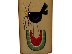 Black Crow on Watermelon Handpainted Wood Sign by ToleTreasures