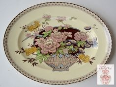 LOVE these colors!!!: RARE Clarice Cliff Brown Transferware Clobbered Platter Newport Opheli