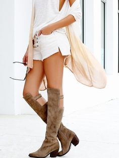 Brown Tall Cut Out Boots