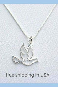 Elegant Sterling Silver God Bless America Outline Charm Pendant Necklace