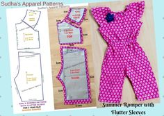 Romper is a loose, one piece garment combining of a top blouse and shorts / pants, worn by babies and young children. It is a very cute spring / summer wear for kids. In this post, I have explained how to make a very simple baby girl romper with flutter sleeve. The pattern measurements i have shown are for a 2 year old girl, but you can make this pattern for age group 1 to 10 years.