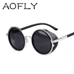 Vintage gafas de sol de diseño Steampunk gafas de sol de las mujeres Side  Visor Círculo. Lentes HombreGafas Para MujerDiseño ... 1daf7738c1ae
