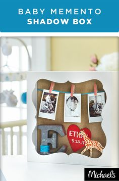 Preserve memories of you sweet little one with this baby memory shadow box. Use newborn photos and an intial for their name to make it one-of-a-kind. This would make a sweet gift for a baby's first birthday! Get all of the supplies you need to make this project at your local Michaels store.
