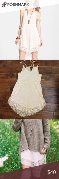 """• Free People Intimately • NWOT size Small. The """"Eyelashes Lace Slip / Dress"""" in Blush. Perfect for Fall  layering (see 3rd picture). No flaws. Unworn. Free People Dresses Asymmetrical"""