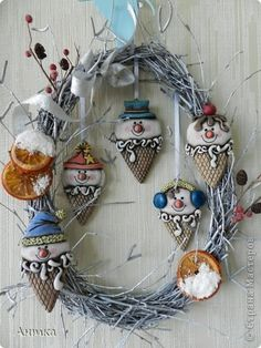 Gallery.ru / Фото #1 - Мороженое-снеговики из соленого теста - inna-parisienka