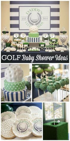 """A baby shower with a """"Daddy's Little Caddy"""" golf theme in navy blue and green with a preppy look!  See more party planning ideas at CatchMyParty.com!"""