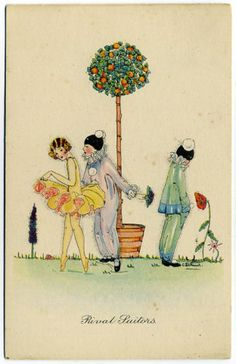 Post-Card-C-Z-Shand-Art-Rival-Suitors-Pierrots