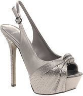 Carvela Grain Satin Diamante Knot Front Slingback Heeled Sandal