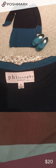 Philosophy sweater dress This green and black sweater dress has long sleeves trimmed in the green. The upper part is black with the green at the bottom and measures 35 1/2 inches in length making it perfect for black tights/leggings. This is not a heavy gauge sweater. Philosophy Dresses