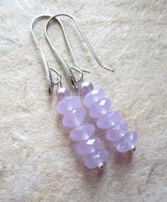Lavender Chalcedony Earrings Rondelles Silver by LeanneDesigns, $10.00 Shop Sale, Lavender, Drop Earrings, Trending Outfits, Unique Jewelry, Handmade Gifts, Silver, Vintage, Etsy