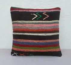 VINTAGE Home Decor Handwoven Large Striped by pillowsstore on Etsy, $71.00