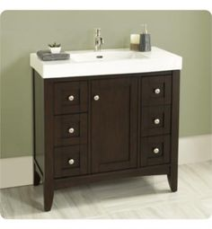 "Fairmont Designs 1513-V3618 Shaker Americana 34 3/4"" Free Standing Single Bathroom Vanity with Six Drawers in Habana Cherry"