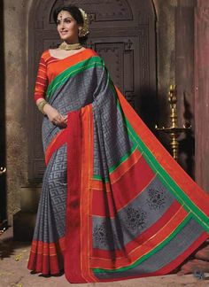 Compelling Multi Colour Print Work Casual Saree