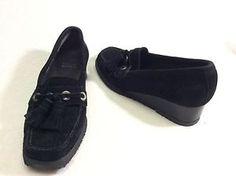 Black Suede Girls Stuart Weitzman Wedges Size 4M
