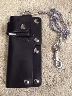 Leather Biker/Trucker Chain Wallet with Knife and Zippo on Etsy, $200.00