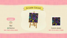Nostalgic arcade carpet design from one of my pals : AnimalCrossing Animal Crossing Qr Codes Clothes, Animal Crossing Game, Arcade, Motif Acnl, Island Design, Floor Patterns, Patterned Carpet, Carpet Design, New Leaf