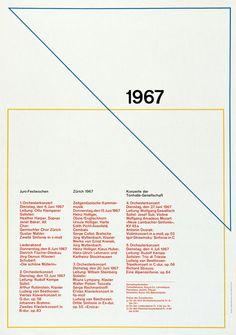 Tonhalle-Gesellschaft Zürich / Juni Festwochen / Poster / 1967
