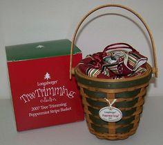 Longaberger 2007 TT Tree Trimming Green Peppermint Stripe Basket Combo NEW