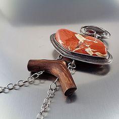 Brecciated Jasper Necklace - Gaia Red brecciated jasper handmade necklace with smoky quartz, agate and wood