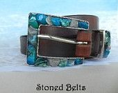 Blue Gemstones in Silver Belt Buckle and brown leather belt.