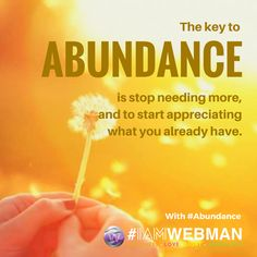 The key to abundance is stop needing more, and to start appreciating what you already have. #abundance #IAMWEBMAN